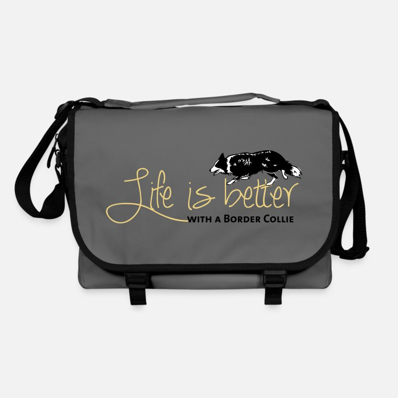 Collie Bags & Backpacks - Life is better - Border - Shoulder Bag graphite/black