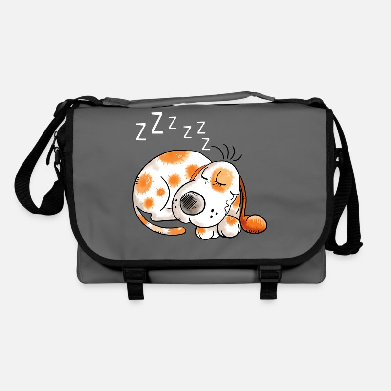 Dog Kids Bags & Backpacks - Sleeping brown spotted dog - dogs - gift - cartoon - Shoulder Bag graphite/black