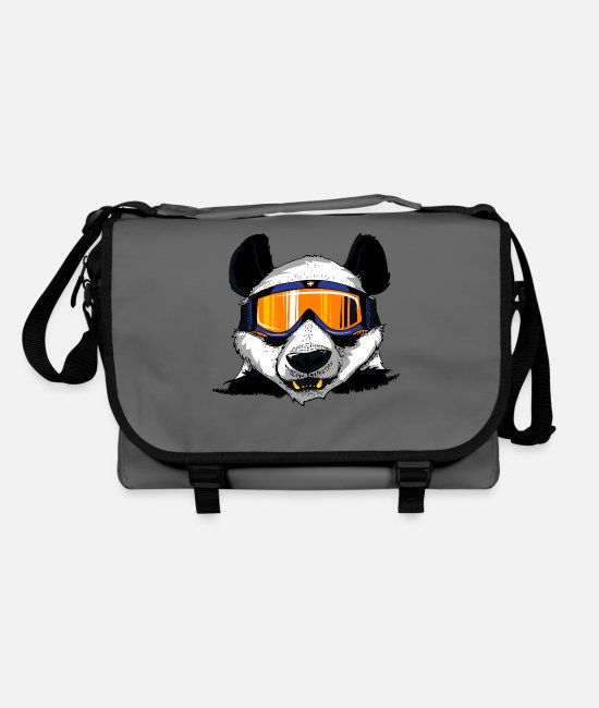 Mountains Bags & Backpacks - Panda skiing - Shoulder Bag graphite/black
