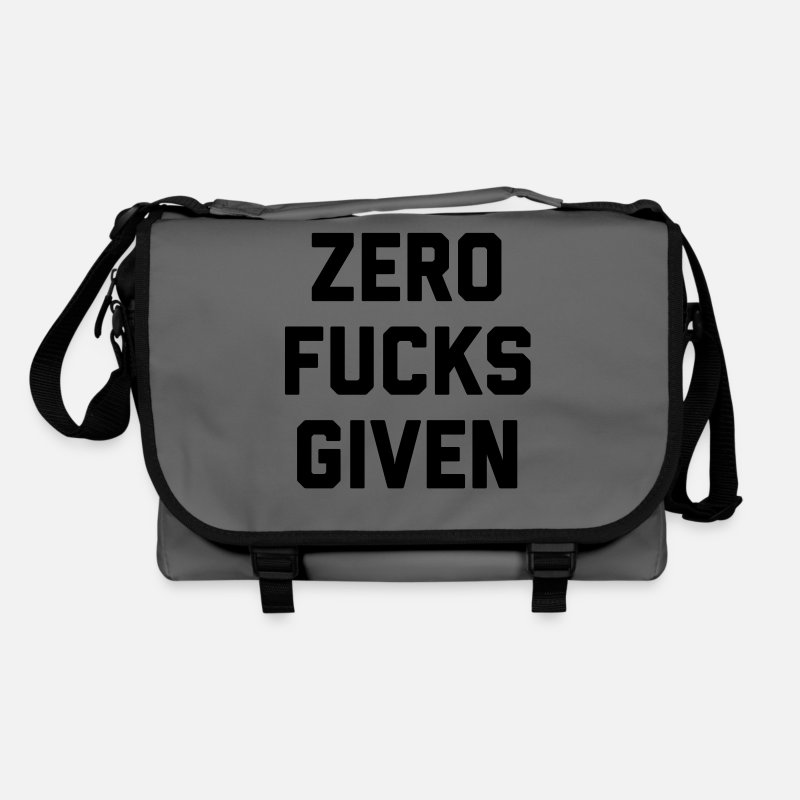Offensive Bags & Backpacks - Zero F*cks Given Funny Quote - Shoulder Bag graphite/black
