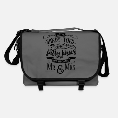 Just Married With sandy toes and salty kisses we became mr & mrs - Shoulder Bag
