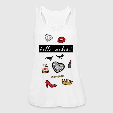 Smiley World Hello Weekend Fake Patches - Women's Tank Top by Bella