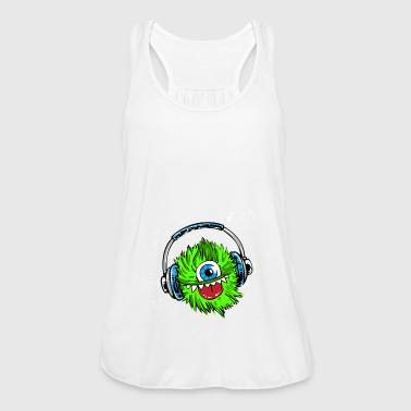 monster green headphones music mascot fur zyk - Women's Tank Top by Bella