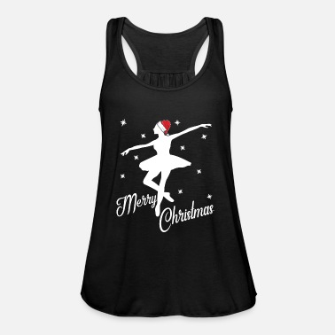 Christmas Christmas ballerina with Santa hat at the ballet - Women's Flowy Tank Top