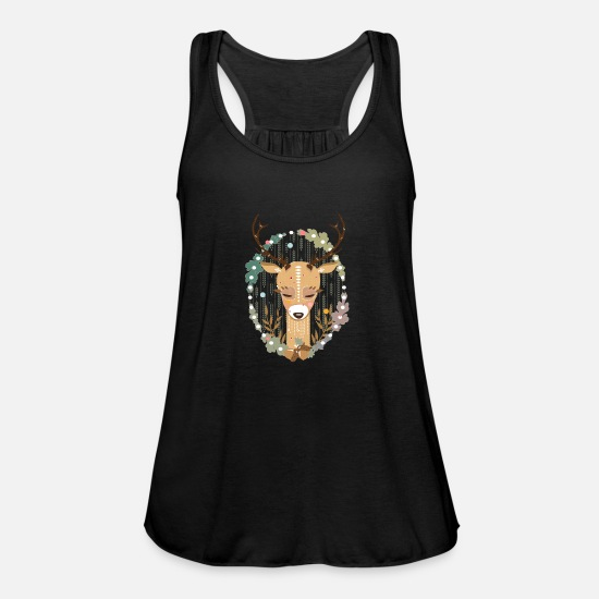 Nature Tank Tops - A deer in the forest - Women's Flowy Tank Top black