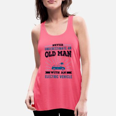 Old Man with an Electric Vehicle Fathers Day Gift - Women's Flowy Tank Top