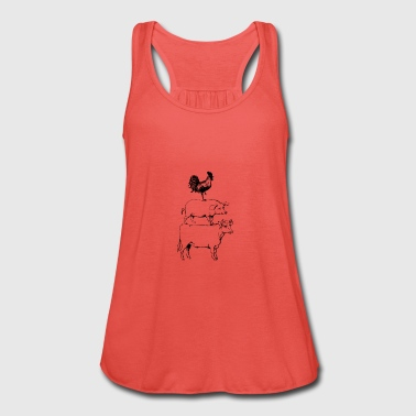 Stacked Farm Animals T-Shirt. Cow Pig Rooster Meat - Women's Tank Top by Bella