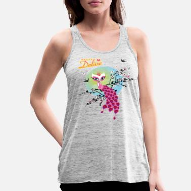 Pussy Deluxe Cat On Top Of Branches - Women's Flowy Tank Top