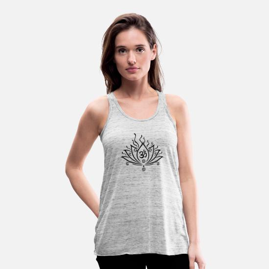 Lotus Blossom Tank Tops - Lotus flower, Yoga with om symbol - Women's Flowy Tank Top grey marble