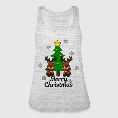 Moose with tree Merry Christmas - Women's Tank Top by Bella