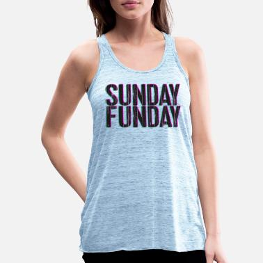 Sunday - Funday 3D look typography pink / turquoise - Women's Flowy Tank Top