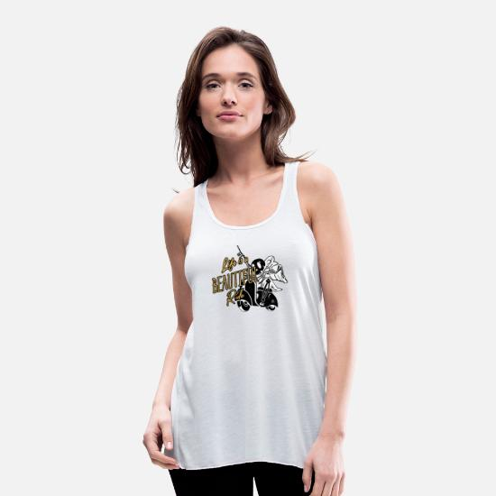 Gift Idea Tank Tops - Scooter driver gift - Women's Flowy Tank Top white
