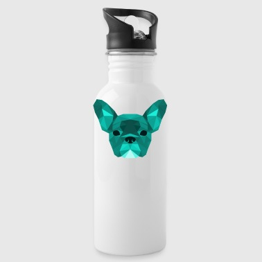 Low Poly Frenchie cyan - Trinkflasche