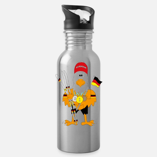 Ski Mugs & Drinkware - Cute german eagle nordic combination - Water Bottle silver