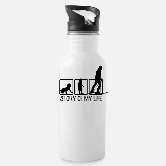 Ski Mugs & Drinkware - Skier | Skis Ski Apres Ski Skiing Gift - Water Bottle white
