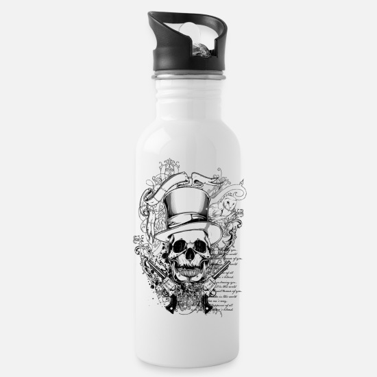 Cowboy Mugs & Drinkware - Cowboy Skull On Parchment T-shirt Design - Water Bottle white