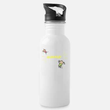 Yellow font: summer with funny kids. - Water Bottle