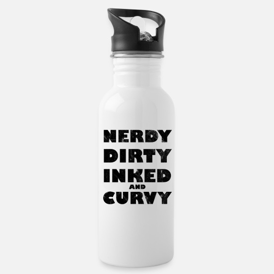 Tattooed Mugs & Drinkware - Nerdy Dirty Inked And Curvy - Water Bottle white