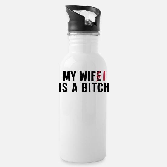 Code Mugs & Drinkware - my wifi is a bitch 2c / my wife is a bitch - Water Bottle white