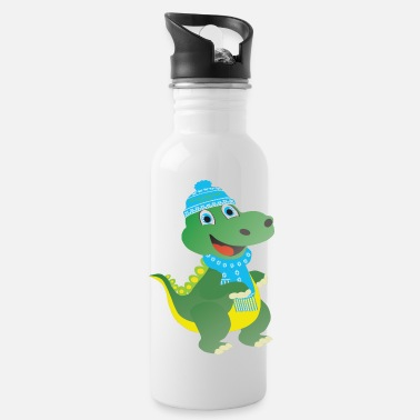 The winter dino with blue cap - Water Bottle