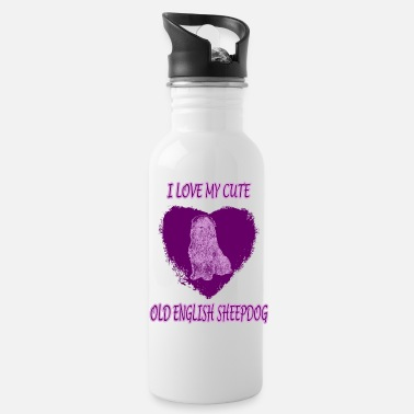 Lilac Old english shepherd in a heart - Water Bottle