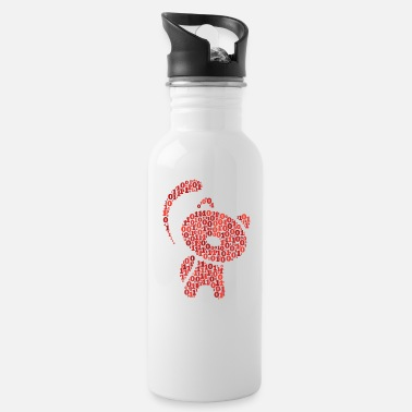 Binary Wordcloud in toy cat form (red) - Water Bottle