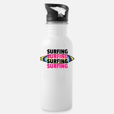 Surfboard surfing - black pink - Water Bottle