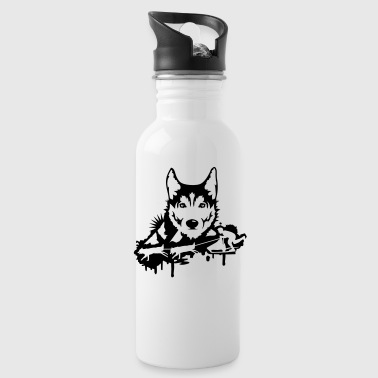 Dog racing with Husky Head  - Water Bottle