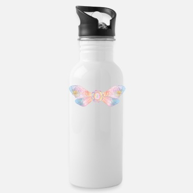 Piece Pastel colored insect wings with pink diamond - Water Bottle