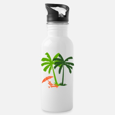 Deck Chair In a deck chair under palm trees - Water Bottle