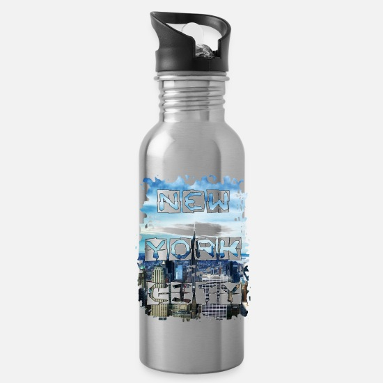 Gift Idea Mugs & Drinkware - NYC Metropolis Gift Skyscraper Photo - Water Bottle silver
