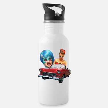 Vintage Pin Up Girls Cars - Water Bottle