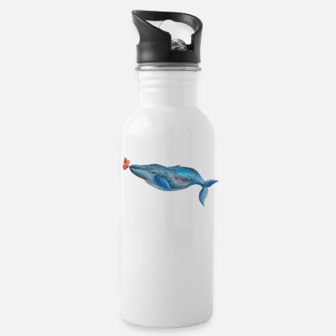 Corazon Blue whale and butterfly - Water Bottle