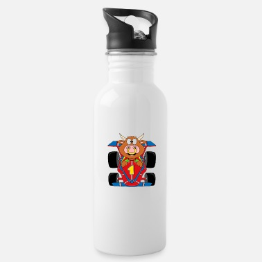 Streaker Bull - cow - bull - cattle - racing car - Water Bottle