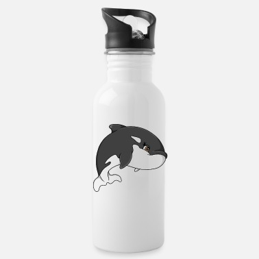 Wal Orka Killerwal Wal Ozean Illustration cartoon - Trinkflasche