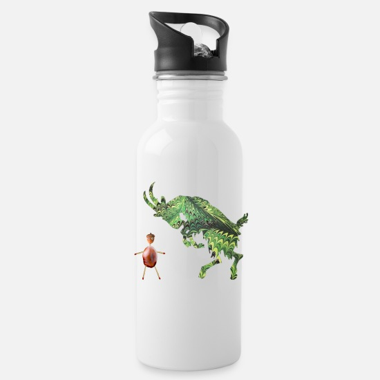 Nature Lovers Mugs & Drinkware - Goat e 35 with chestnut mash - Water Bottle white