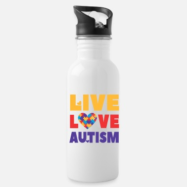 Autism Month Autism Awareness, Live Love Autism, teacher, month - Water Bottle