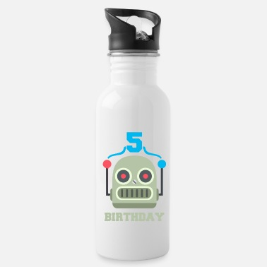 Birthday Party Kids birthday 5 year robot birthday party - Water Bottle