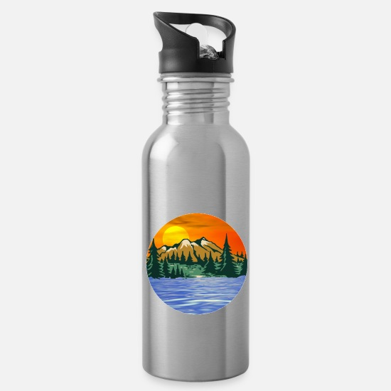 Sayings Mugs & Drinkware - Get out and live - Water Bottle silver