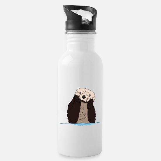 Birthday Mugs & Drinkware - cute and cute otter in Otter box gift - Water Bottle white