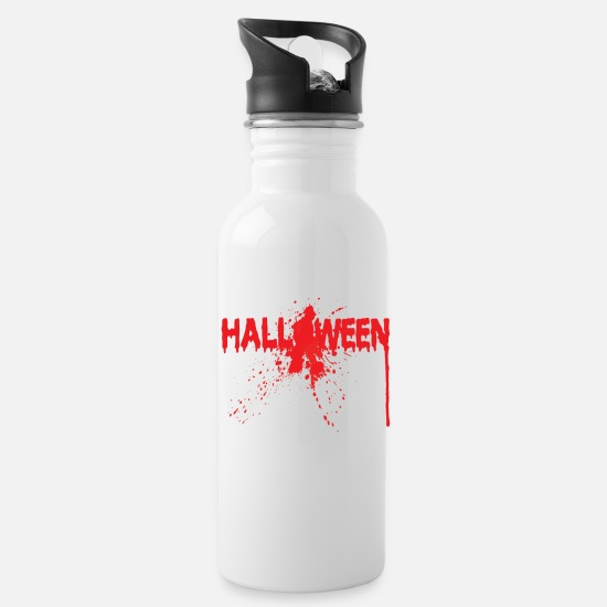 Witches Broom Mugs & Drinkware - Bloody Halloween lettering splatter - Water Bottle white