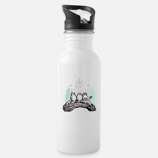 Christmas Mugs & Drinkware - Christmas little bird on a tree trunk - Water Bottle white