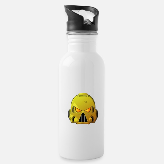 Warhammer Mugs & Drinkware - Imperial Fists Space Marine Helmet - Water Bottle white