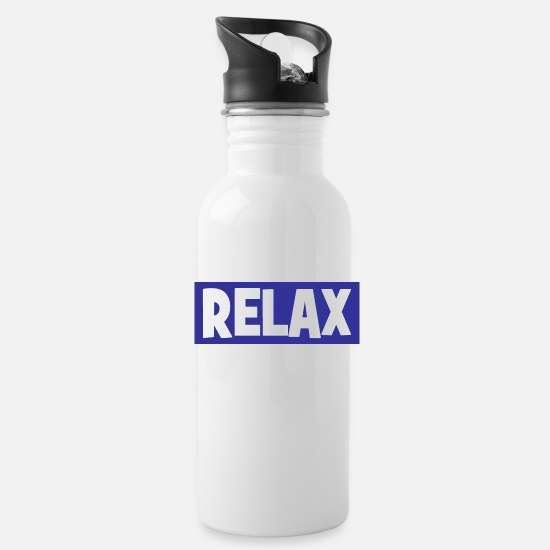 Relax Mugs & Drinkware - RELAX - relax - relax - chill - chill - Water Bottle white
