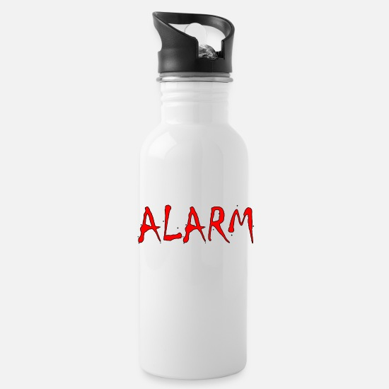 Gift Idea Mugs & Drinkware - ALARM Designed by BowieDesigns - Water Bottle white