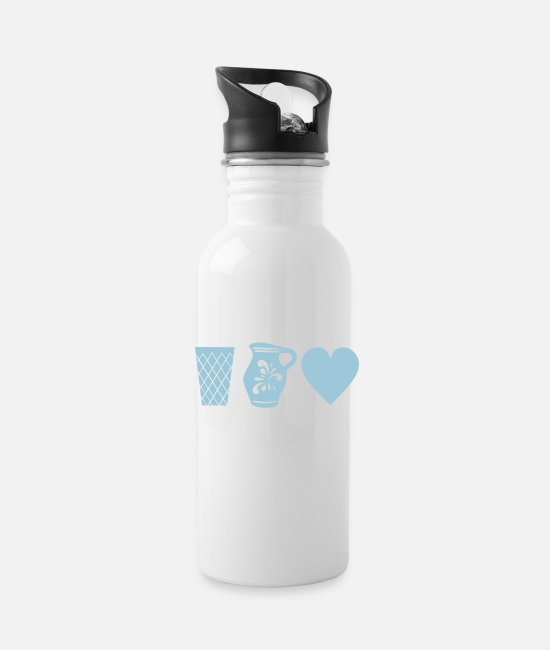 Bembel Mugs & Drinkware - Ribbed - Bembel - Heart - Hessen - Water Bottle white