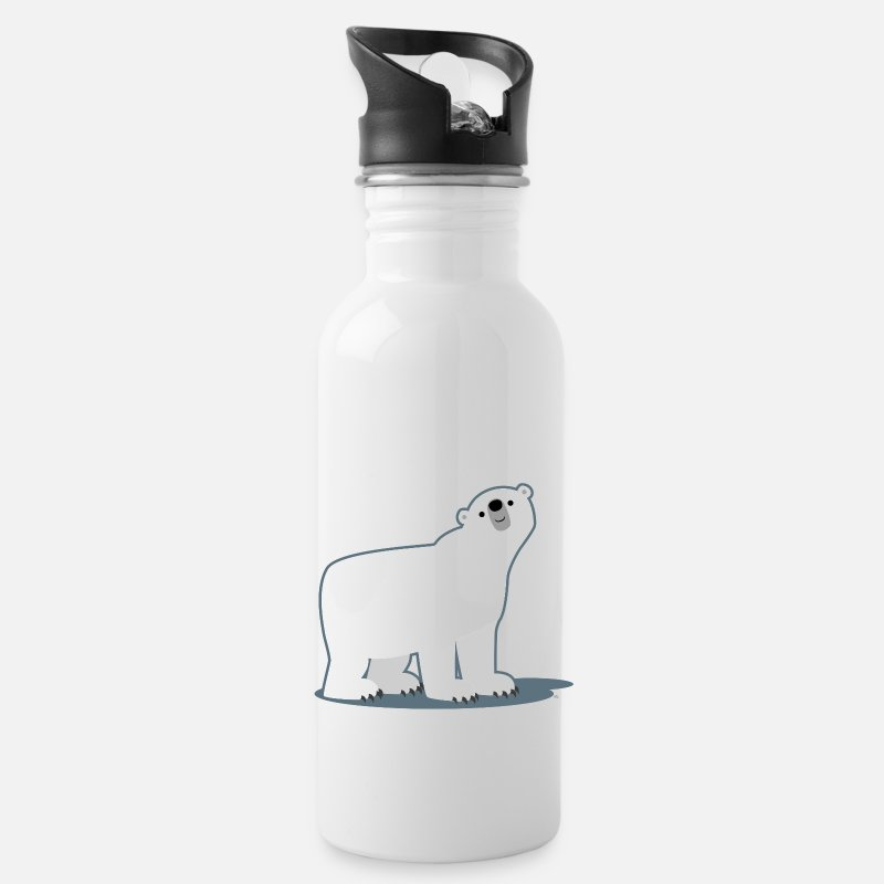 Sweet Mugs & Drinkware - Cute Cartoon Polar Bear by Cheerful Madness!! - Water Bottle white