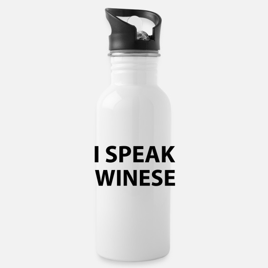 Alcohol Mugs & Drinkware - I Speak Winese - Water Bottle white