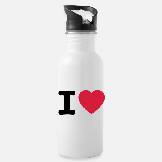 Love Mokken & toebehoor - I love / I heart DELUXE - Drinkfles wit