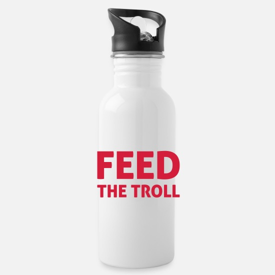 Geek Mugs & Drinkware - Feed The Troll - Water Bottle white